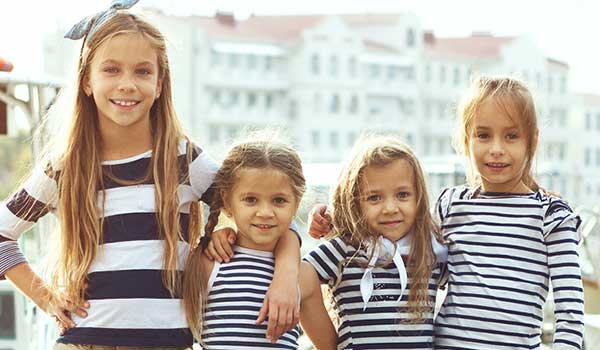 kids themed in stripes for a party